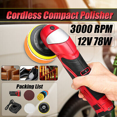 "12V Li-ion Cordless Car Polisher Waxer Buffer + 4"" Sponge Pad Adjustable Speed"