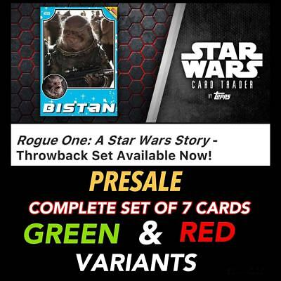 ROGUE ONE THROWBACK PRESALE GREEN/RED COMPLETE SET OF 7 Topps Star Wars Digital