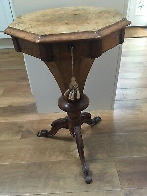 Antique Victorian Walnut Octagonal Trumpet Sewing Machine Table