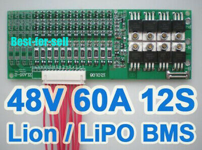 12S 60A 44.4V 50.4V Lithium Li-ion Lipo 18650 Battery BMS Protection PCB Balance