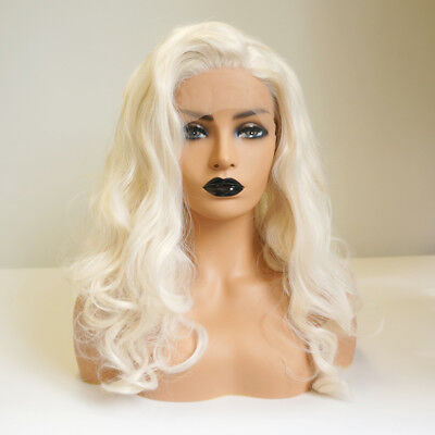 New 14 ''Heat Resistant Lace Front Wig Ladies Hair Curly Creamy Blonde Medium
