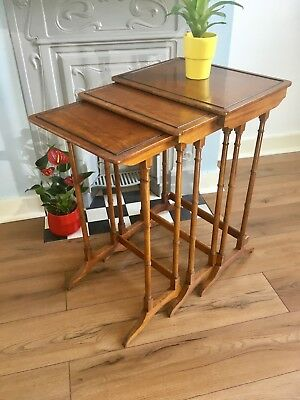 Edwardian antique Arts & Crafts mahogany 3 nest of tables truly stunning