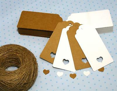 10/25/50/100 Scallop Rectangular Kraft Gift Tags Paper Card Label + Free Strings