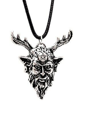Cernunnos Pendant Herne Horned God Corded Beaded Amulet Talisman Pagan