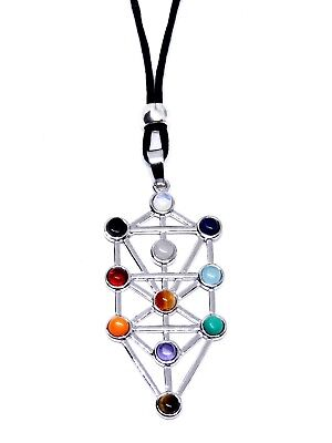 Tree of Life Sefirot Chakra Pendant Natural Gemstone Kabbalah Bead Cord Necklace