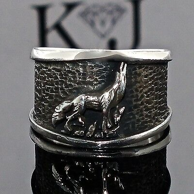Silver Mens ring howling Wolf 925 Sterling Wolf ring free resizing