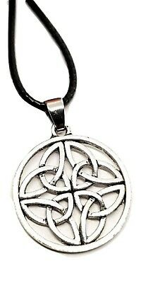 Celtic Trinity Knot Pendant Silver Tone Four Way Triquetra on Leather Cord