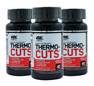 3 x Optimum Nutrition Thermo Cuts 40 Caps Thermocuts Fat Burner Cuts Weight Loss
