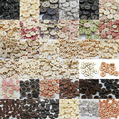 Mixed Wood Shape Handmade 2/4 Holes Wooden Buttons Sewing Scrapbooking DIY Lots