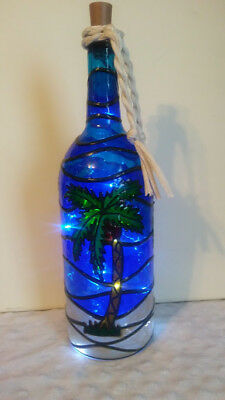 Palm Tree Bottle Lamp Handpainted Stained Glass Lighted LED