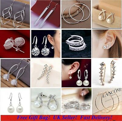 *UK* 925 Sterling Silver Plated Crystal Pearl Hoop/Drop Ear Stud  Earrings Gift