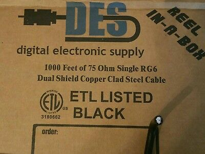 1000' Ft Black RG6 Dual Shield Copper  Clad Steel 18AWG Cable 75Ω