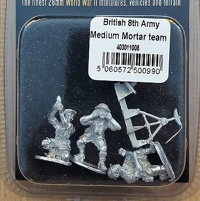 Warlord Games 403011008 Bolt Action 1:56 British 8th Army Medium Mortar Team NEU