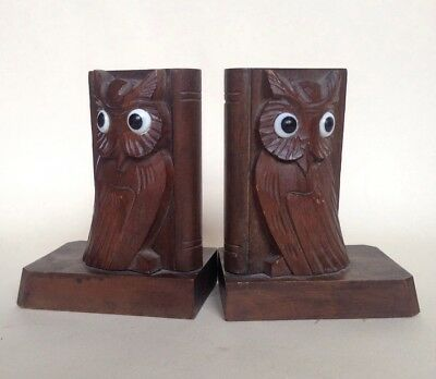 Pair of Vintage Carved Wooden Owl Bookends (Black Forest)