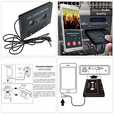 Cassette Deck Player Tape Adapter 3.5mm Aux Cable Cord MP3 Phone iPod Car Audio