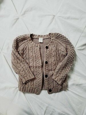Toddler Girls Sweater Cardigan 2T / Baby Brown, Oatmeal Cardi Size 2 Old Navy