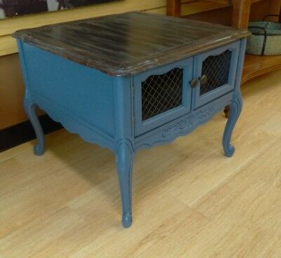 French Provincial Side Accent Table Aged Wood Top / Night Stand Wire Doors