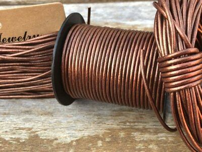 2mm Antique Copper Metallic Round Leather Cord 10 Yards Genuine Leather 120