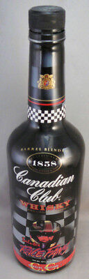 1996 CANADIAN CLUB WHISKY CHECKER FLAG,SALUTES RACE FANS 750mm BOTTLE,EMPTY