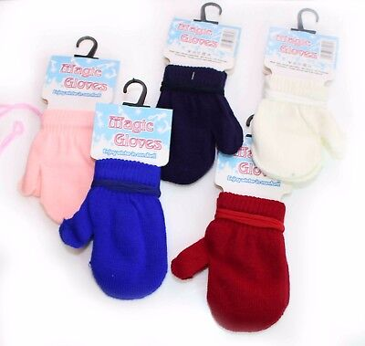Baby Boy Girl Kids Winter MAGIC Mittens Knit Knitted String Gloves Mitts 0 12