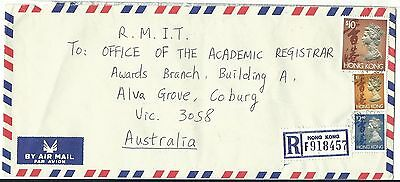 China Hong Kong registered airmail cover $13.40 rate to Australia 1994