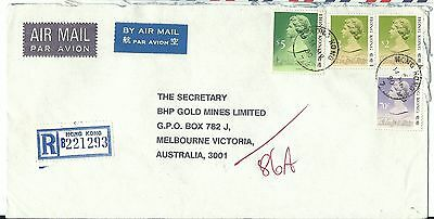 China Hong Kong registered airmail cover $9.70 rate to Australia 1990