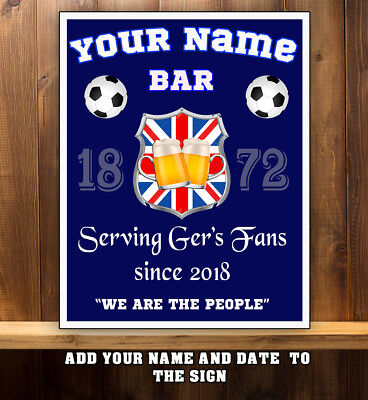 PERSONALISED RANGERS GLASGOW  WATP BAR MAN CAVE SHED  GIFT  Metal Wall Sign