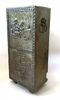 Vintage Umbrella Stand Hammered Copper Scenes Patina Wood Base Brass Lions