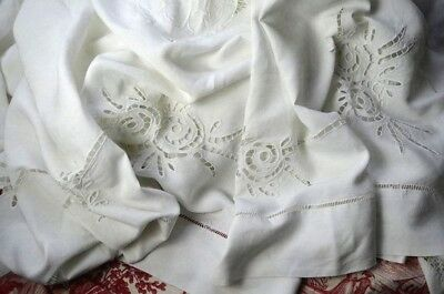 Antique French pure luxury linen fil MT monogrammed dowry sheet, white work