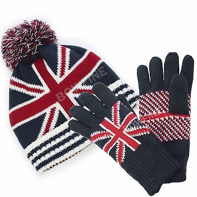 UNION JACK London Thermal Knitted Winter Souvenir Gift Gloves Beanie Hat Scarf
