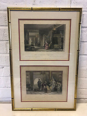 Antique T. Allom Hand Colored Pair of Engraving Prints Chinese Interior Scenes