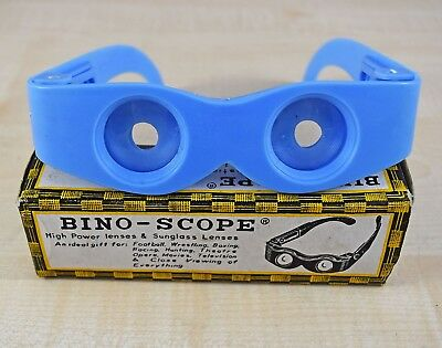 Vintage Boxed Pair Of Early Plastic Bino-Scope High Power Sunglasses Lenses