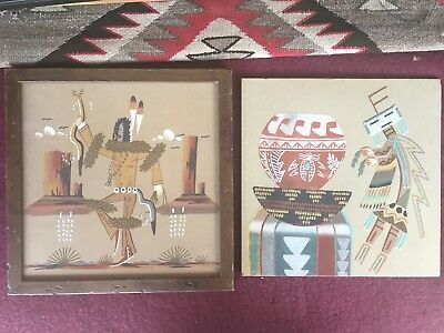 """2 Native American Navajo Sand Paintings signed titled 12"""" x 12"""""""