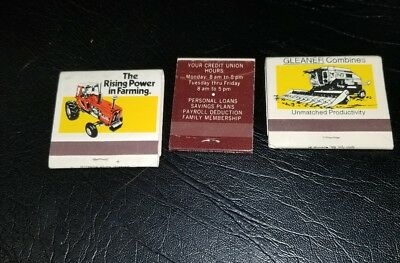 Lot of 3 Vintage Allis Chalmers Tractor Advertising Match Books Unused