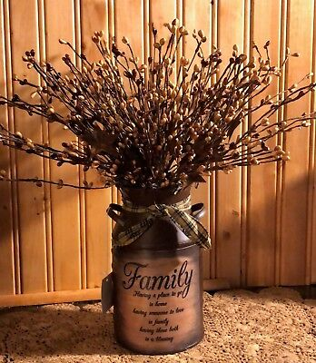 PRIMITIVE DECOR ~ Rusty Milk Can Family Saying Display ~ Country ~ Farmhouse