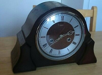 Art Deco 8 Day Striking Mantle Clock with key and pendulum