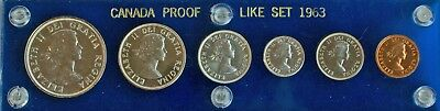 Canada Proof Like Set 1963 6 Coins Capital Coin Holder Silver Unc Royal Mint