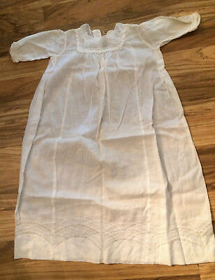 """Antique *1923*  Linen 26"""" Baby Christening Gown with original shell buttons"""