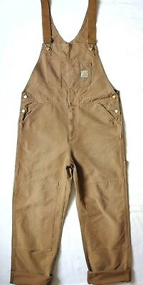 Carhartt WIP Bib Overall, Canvas, Hamilton Brown Stony Washed, W34in L32in