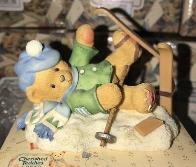 Cherished Teddies - SPENCER - Boy falling down with skis Figurine- 269743 BNIB