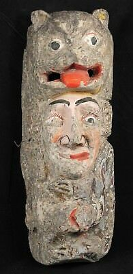 Antique Mexican Wood Hanging Mask Folk Art Hand Made/Painted Collectible Lrg