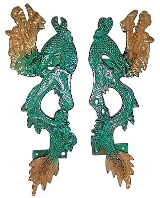 A Pair of Vintage style Unique Chinese Dragon designed BRASS DOOR HANDLES (Rare)