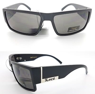 be78e499c672 NEW Locs Gangster sunglasses Matte Black Medium Fit Mens gray Flat Top  Rectangle