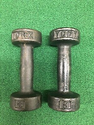 Pair Vintage York Barbell Dumbbells 2 X 3Lb Pounds Roundhead Pre Usa Stamp