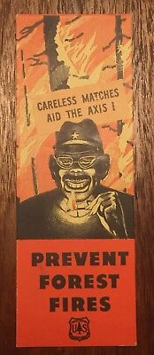WWII War Propaganda Print Original Anti-Japan Japanese Careless Matches Aid Axis
