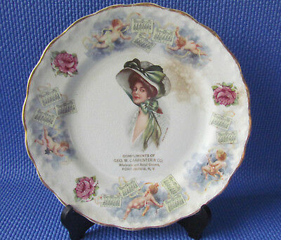 1911 Calendar Plate- Victorian Woman- Adv. Geo W Carpenter- Port Jervis, NY