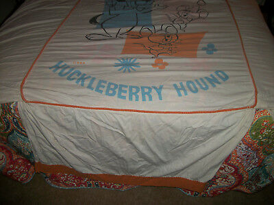 Vintage Huckleberry Hound Twin Flat Sheet and Pillow Case H BP