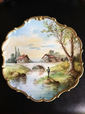 Limoges Flambeau France Hand Painted Charger Plate Signed C.1890-1914