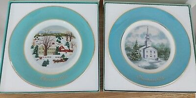 Lot of 2 Avon 1973 and 1974 Christmas Plates in Original Boxes