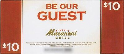 ROMANO'S MACARONI GRILL $10 Gift Card/Certificate *SAVE 40%* 15% SUPPORTS TROOPS